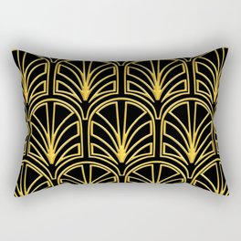 3-D Art Deco Argentinian Glamour Gold Pattern Rectangular Pillow