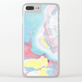 Abstract pastel pink blue teal yellow watercolor marble Clear iPhone Case