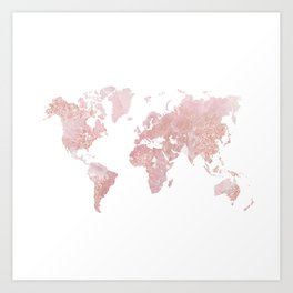 Rose Quartz World Map Art Print