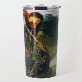 St George kills the dragon VI by Edward Burne-Jones. Travel Mug
