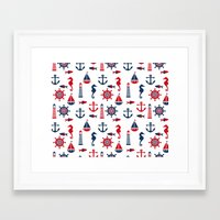 navy Framed Art Prints featuring Navy by Valmo. Surface pattern design by Valeria