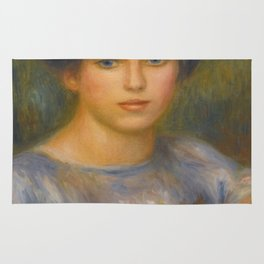 """Auguste Renoir """"Jeune fille aux roses (Young girl with flowers)"""" Rug"""
