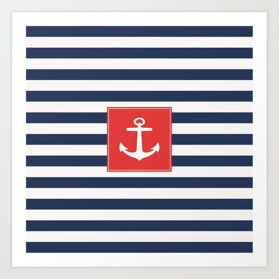 Anchor on blue and white stripes Art Print