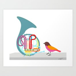 French horn Art Print