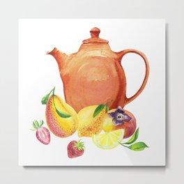 Watercolor teapot and fruit Metal Print