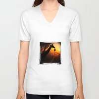 starry night V-neck T-shirts featuring starry night by mixmediamania