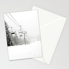 Lifts waiting for action in the snow Stationery Cards