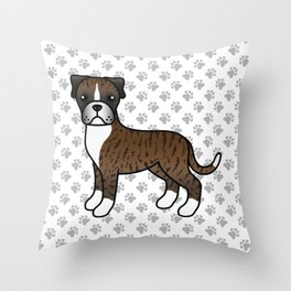 Cute Brindle Boxer Dog Cartoon Illustration Throw Pillow