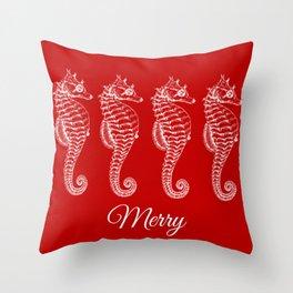Merry Seahorses Throw Pillow
