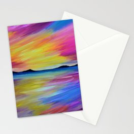 PURPLE SEASCAPE - Abstract Sky Seascape Oil Painting Stationery Cards