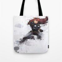 black widow Tote Bags featuring Black Widow by Isaak_Rodriguez