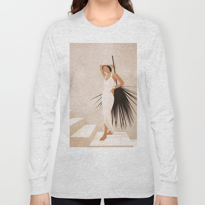 Minimal Woman with a Palm Leaf Long Sleeve T-shirt
