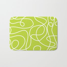 Doodle Line Art | White Lines on Bright Lime Green Bath Mat