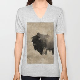 American Buffalo  -  Plains Bison Unisex V-Neck