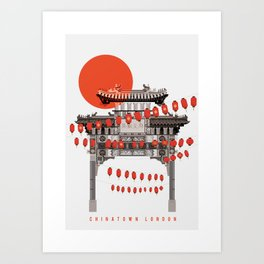 Chinatown Soho London Illustrated Art Print Art Print
