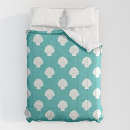 Seashells (White & Teal Pattern) Comforters