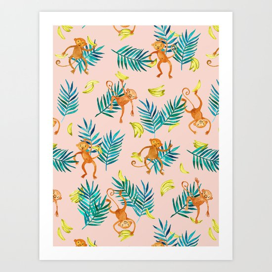 Tropical Monkey Banana Bonanza on Blush Pink Art Print