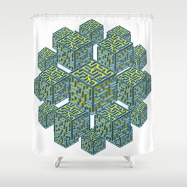 Cubed Mazes Shower Curtain