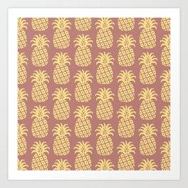 Mid Century Modern Pineapple Pattern Yellow and Brown Art Print