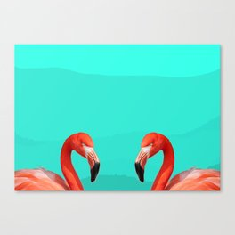Two Flamingos on Turquoise Canvas Print