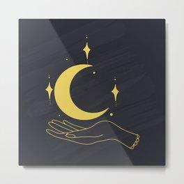 Hands Holding Crescent Moon And Stars, Boho Ethnic Mystical Vector Illustration Metal Print