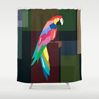 parrot Shower Curtains featuring parrot by mark ashkenazi
