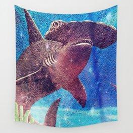 Hammerhead Shark In The Deep Blue Ocean Painting Wall Tapestry