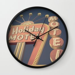 Vintage Motel Sign Square Wall Clock