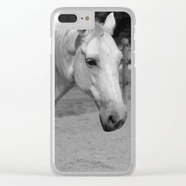 Horse In Black And White Clear iPhone Case
