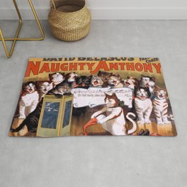 Naughty Anthony the cat vintage poster Rug