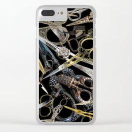 Vintage Scissors Clear iPhone Case