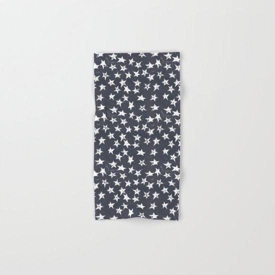 Linocut Stars - Navy & White Hand & Bath Towel