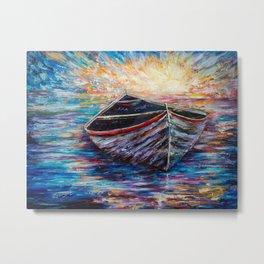 Wooden Boat at Sunrise Metal Print