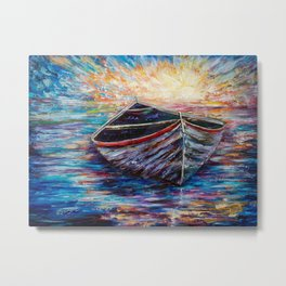 Wooden Boat at Sunrise my Painting with a Palette Knife Metal Print