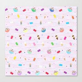 Ice Cream Collage in Purple Canvas Print