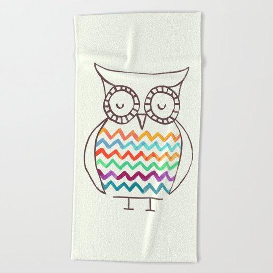 Chevron Owl Beach Towel