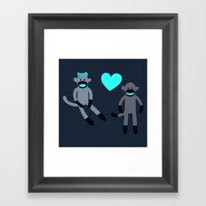 Sock Monkey Love Framed Art Print