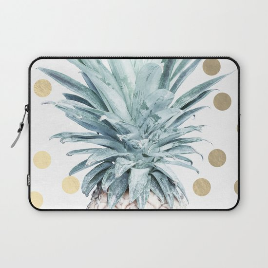 Pineapple crown - gold confetti Laptop Sleeve