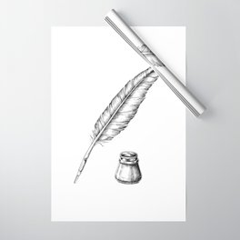 Quill Pen with an Inkwell Wrapping Paper