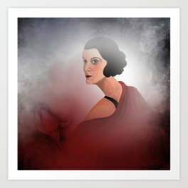the woman in red - with rosebud Art Print