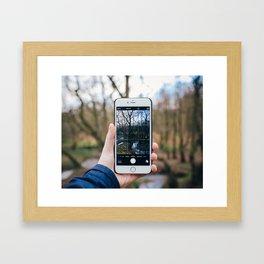Through the Phone Framed Art Print