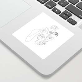 Minimal Line Art Woman with Flowers III Sticker