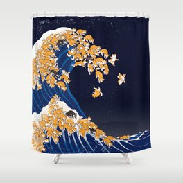 Shiba Inu The Great Wave in Night Shower Curtain