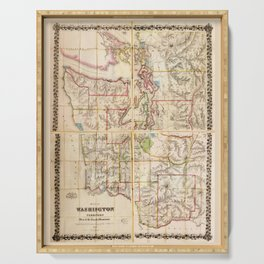 Washington Territory Map (1870) Serving Tray