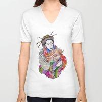geisha V-neck T-shirts featuring Geisha by LuxMundi