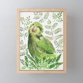 Kakapo in the ferns Framed Mini Art Print