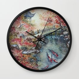 Autumn Morning (Watercolor painting) Wall Clock