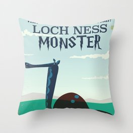 Loch Ness Monster vintage 'children's book' travel poster Throw Pillow