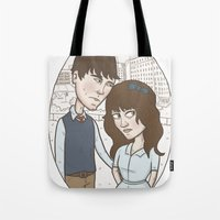 500 days of summer Tote Bags featuring 500 days of summer portrait. by Nic Lawson