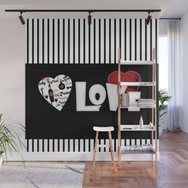 Valentine's day . Love. Black and white striped background . Wall Mural
